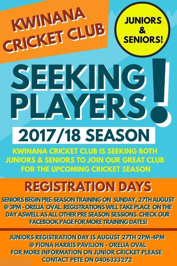 Seeking players for 2017-18 season
